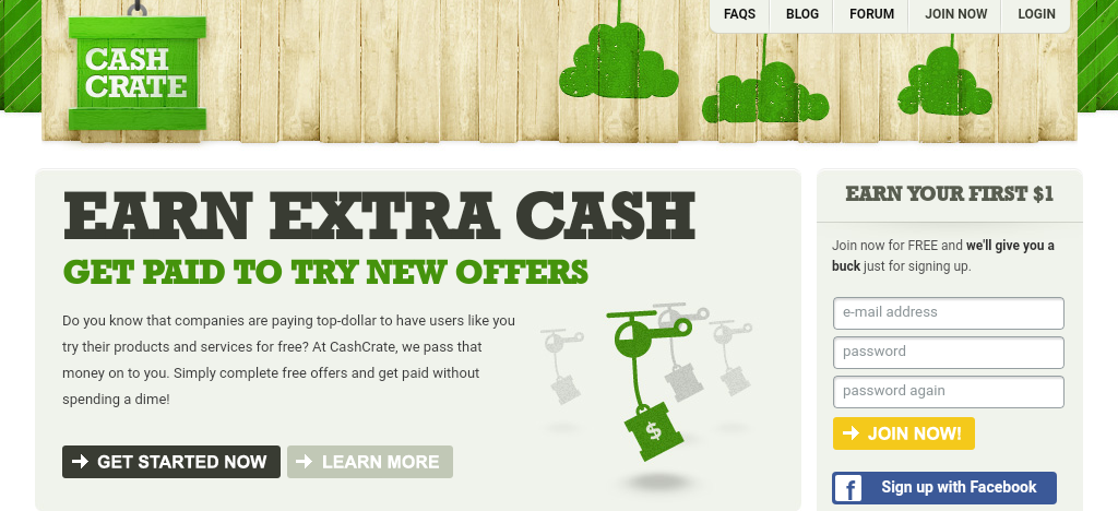CashCrate Main Page