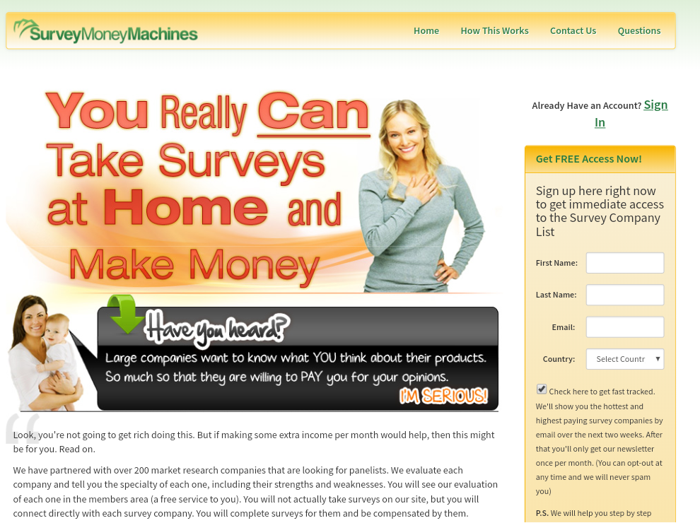 Survey Money Machines Main Page