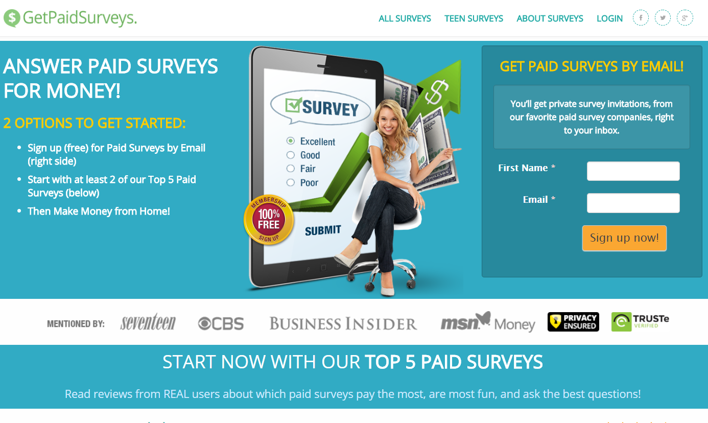 GetPaidSurveys Home Page
